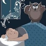 Snoring man using sleep sound machine