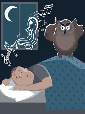 Snoring man using a sleep sound machine